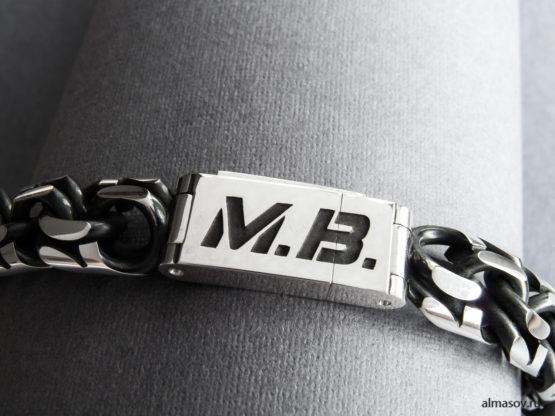 толстый мужской серебряный браслет бисмарк (garibaldi) с гравировкой М.В. 3