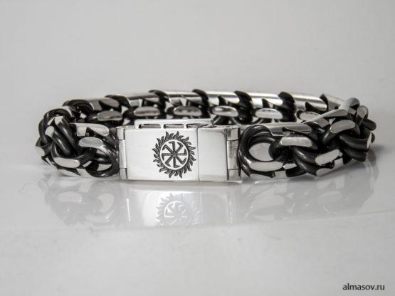 толстый мужской серебряный браслет бисмарк (garibaldi) с гравировкой Колядник в солнце