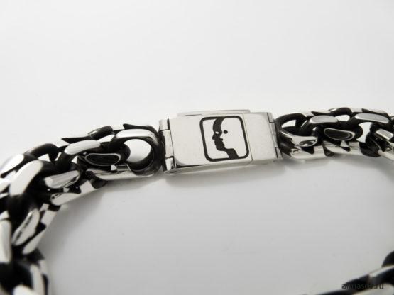 толстый мужской серебряный браслет бисмарк (garibaldi) с гравировкой Близнецы