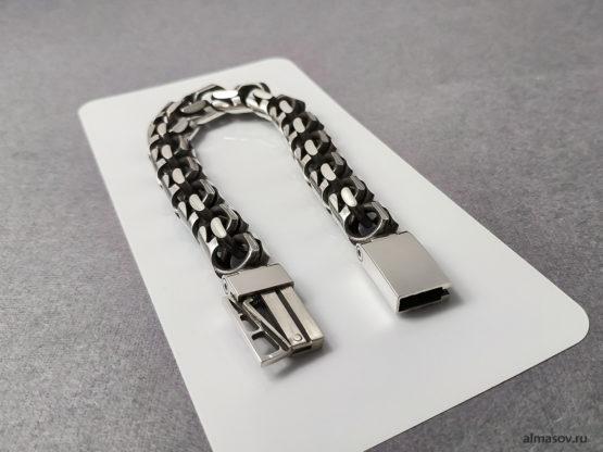 толстый мужской серебряный браслет бисмарк (garibaldi) 4