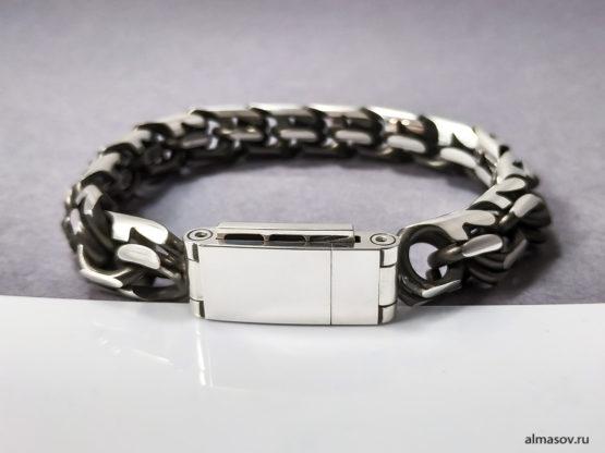 толстый мужской серебряный браслет бисмарк (garibaldi) 3