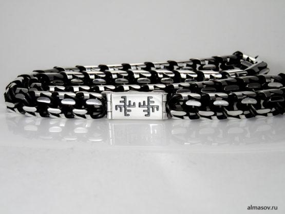 Серебряная цепь garibaldi с гравировкой амулета оберега Солнечный и небесный крест
