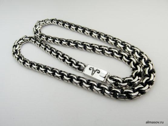 Мужская серебряная цепь бисмарк (garibaldi) с гравировкой знака зодиака Овен.