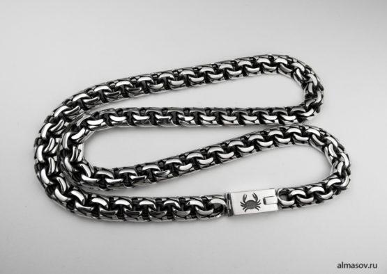 Мужская серебряная цепь бисмарк (garibaldi) с гравировкой знака зодиака Рак.