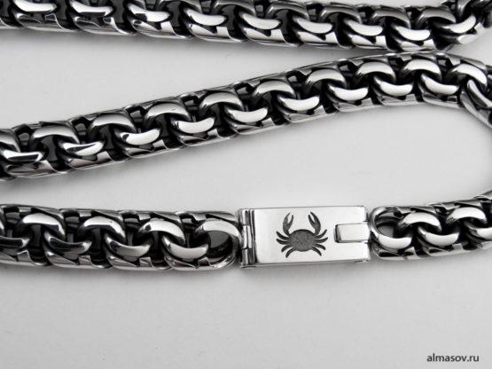 Гравировка знака зодиака Рак на серебряной цепи бисмарк (garibaldi)