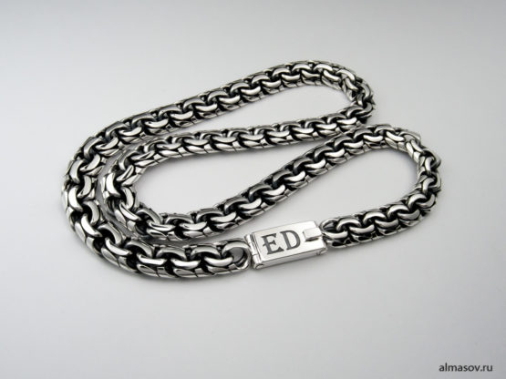 Серебряная цепь garibaldi с гравировкой инициалов ED