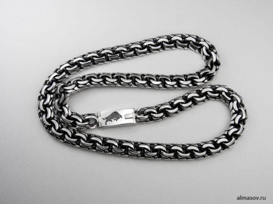 Мужская серебряная цепь garibaldi с гравировкой знака зодиака Телец.