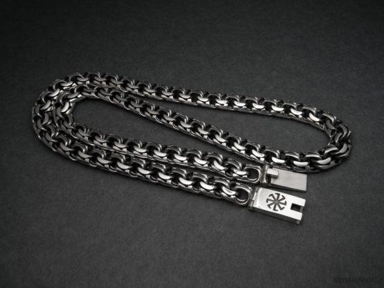 Серебряная цепь бисмарк (garibaldi) с гравировкой оберега амулета Коловрат.