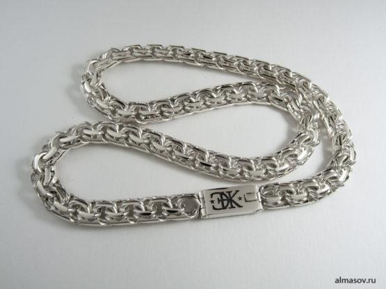 Серебряная цепь garibaldi с гравировкой инициалов ЭНК