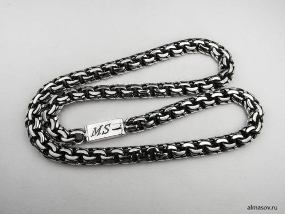 Серебряная цепь garibaldi с гравировкой инициалов MS