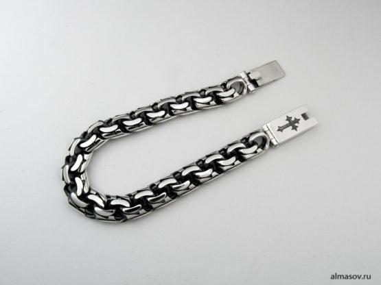 Мужской серебряный браслет garibaldi 10 мм. с гравировкой креста