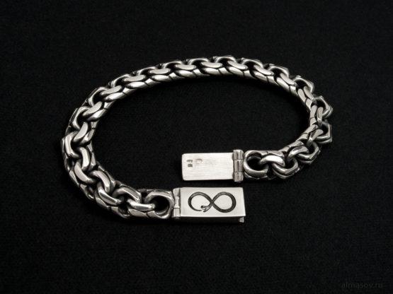 Мужской серебряный браслет garibaldi 10 мм. с гравировкой символа Уроборос