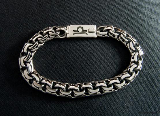 Мужской серебряный браслет garibaldi 10 мм. с гравировкой знака зодиака Весы