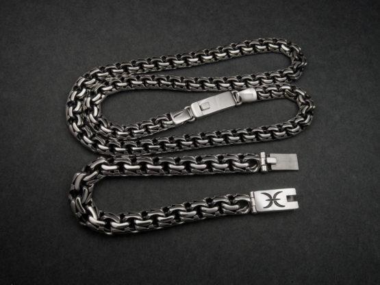 Мужской серебряный браслет и цепь garibaldi с гравировкой знака зодиака Рыбы