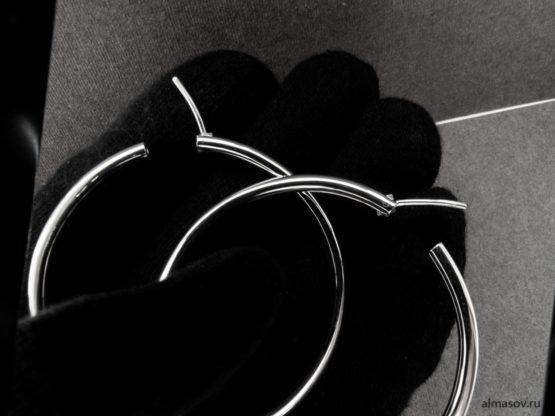 Большие круглые серебряные серьги кольца конго с открытыми замками