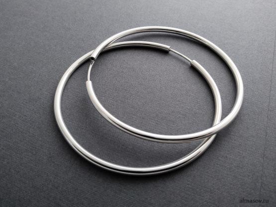 Большие толстые круглые серебряные серьги кольца конго
