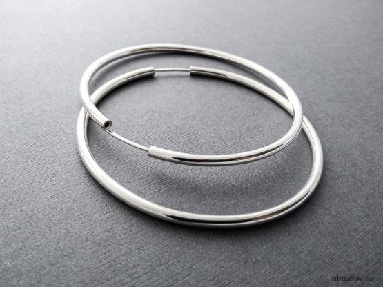 Большие круглые серебряные серьги конго кольца