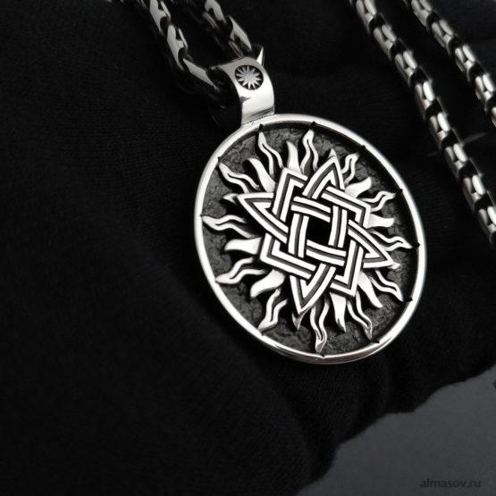 Славянский серебряный кулон оберег Звезда Руси (квадрат Сварога) в солнце и цепочка