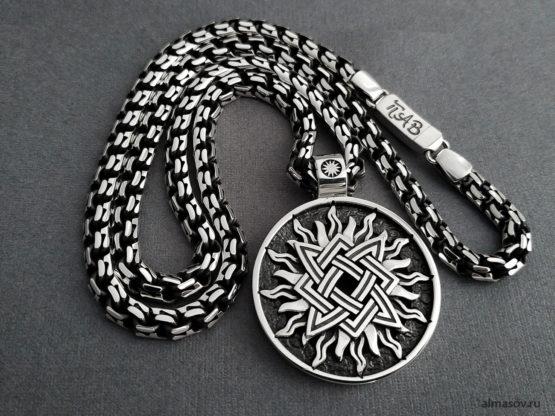 Мужская и женская серебряная цепь с гравировкой и кулоном Квадрат Сварога