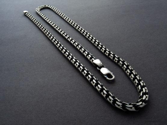 Мужская и женская серебряная цепь (garibaldi) с замком карабин