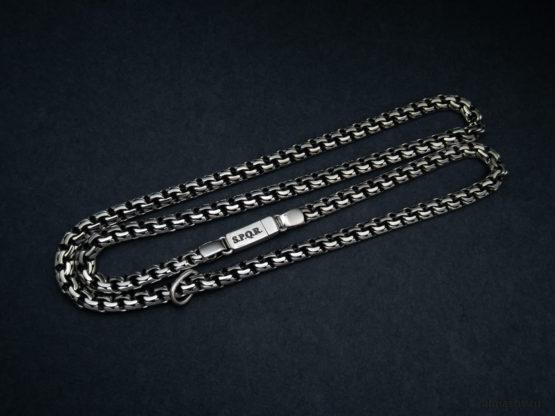 Мужская и женская серебряная цепь garibaldi с гравировкой S.P.Q.R.