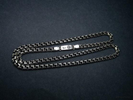 Мужская и женская серебряная цепь (garibaldi) с гравировкой волны звука