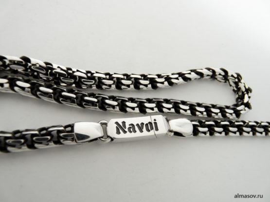 Замок серебряной цепи garibaldi с гравировкой Navoi