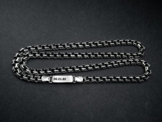 Мужская серебряная цепь garibaldi 8.5 мм. с гравировкой даты рождения на замке