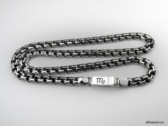 Мужская серебряная цепь garibaldi 8.5 мм. с гравировкой знака скорпиона на замке