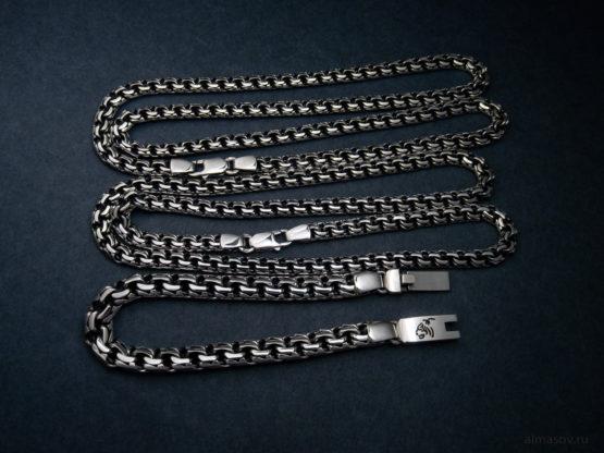 Мужская и женская серебряная цепь и браслет garibaldi с гравировкой головы тигра