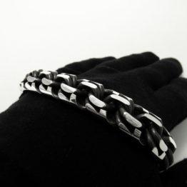 Толстый тяжелый мужской серебряный браслет (garibaldi) 15 мм