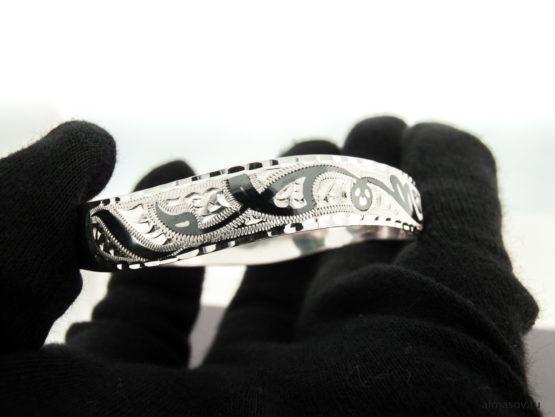 Женский серебряный кубачинский узкий браслет вид 3